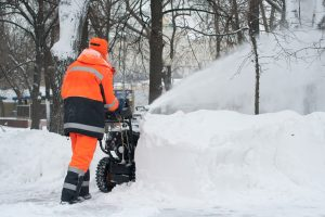 Snow removal with a snowblower
